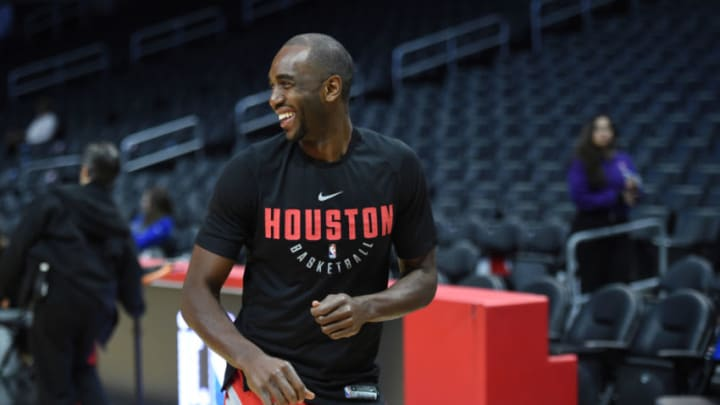 LOS ANGELES, CA - FEBRUARY 28: Luc Mbah a Moute #12 of the Houston Rockets warms up before the game against the LA Clippers on February 28, 2018 at STAPLES Center in Los Angeles, California. NOTE TO USER: User expressly acknowledges and agrees that, by downloading and/or using this photograph, user is consenting to the terms and conditions of the Getty Images License Agreement. Mandatory Copyright Notice: Copyright 2018 NBAE (Photo by Adam Pantozzi/NBAE via Getty Images)
