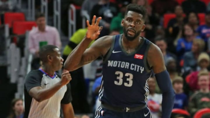 DETROIT, MI – MARCH 9: James Ennis III #33 of the Detroit Pistons celebrates a three point shot during the first half of the game against the Chicago Bulls at Little Caesars Arena on March 9, 2018 in Detroit, Michigan. Detroit defeated Chicago 99-83. (Photo by Leon Halip/Getty Images)