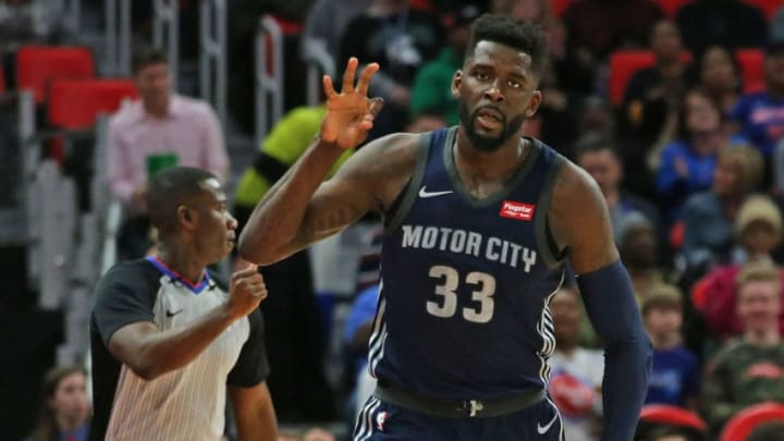 DETROIT, MI - MARCH 9: James Ennis III #33 of the Detroit Pistons celebrates a three point shot during the first half of the game against the Chicago Bulls at Little Caesars Arena on March 9, 2018 in Detroit, Michigan. Detroit defeated Chicago 99-83. NOTE TO USER: User expressly acknowledges and agrees that, by downloading and or using this photograph, User is consenting to the terms and conditions of the Getty Images License Agreement (Photo by Leon Halip/Getty Images)
