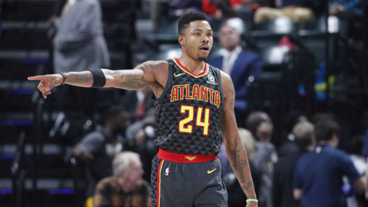 Kent Bazemore #24 of the Atlanta Hawks looks on against the Indiana Pacers (Photo by Joe Robbins/Getty Images)