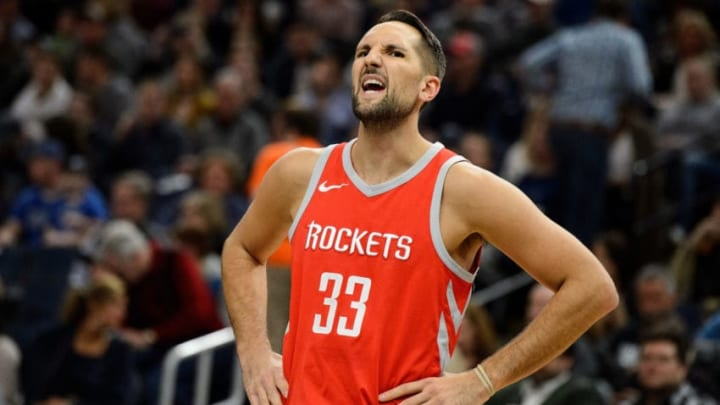 MINNEAPOLIS, MN - MARCH 18: Ryan Anderson #33 of the Houston Rockets looks on during the game against the Minnesota Timberwolves on March 18, 2018 at the Target Center in Minneapolis, Minnesota. NOTE TO USER: User expressly acknowledges and agrees that, by downloading and or using this Photograph, user is consenting to the terms and conditions of the Getty Images License Agreement. (Photo by Hannah Foslien/Getty Images)