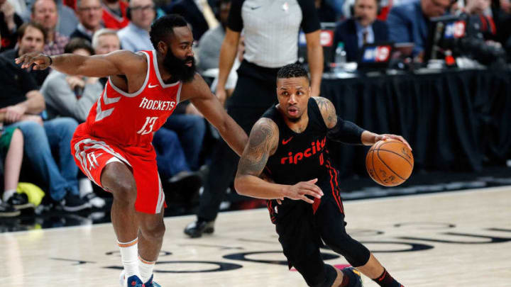 Damian Lillard #0 of the Portland Trail Blazers in action against James Harden #13 of the Houston Rockets (Photo by Jonathan Ferrey/Getty Images)