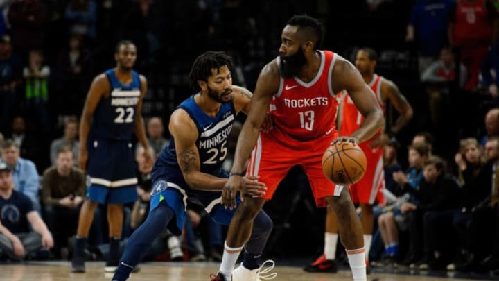 MINNEAPOLIS, MN - MARCH 18: Derrick Rose #25 of the Minnesota Timberwolves defends against James Harden #13 of the Houston Rockets during the game on March 18, 2018 at the Target Center in Minneapolis, Minnesota. NOTE TO USER: User expressly acknowledges and agrees that, by downloading and or using this Photograph, user is consenting to the terms and conditions of the Getty Images License Agreement. (Photo by Hannah Foslien/Getty Images)