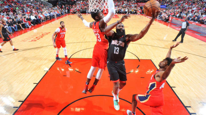 HOUSTON, TX - MARCH 24: James Harden #13 of the Houston Rockets goes to the basket against the New Orleans Pelicans on March 24, 2018 at the Toyota Center in Houston, Texas. NOTE TO USER: User expressly acknowledges and agrees that, by downloading and or using this photograph, User is consenting to the terms and conditions of the Getty Images License Agreement. Mandatory Copyright Notice: Copyright 2018 NBAE (Photo by Bill Baptist/NBAE via Getty Images)