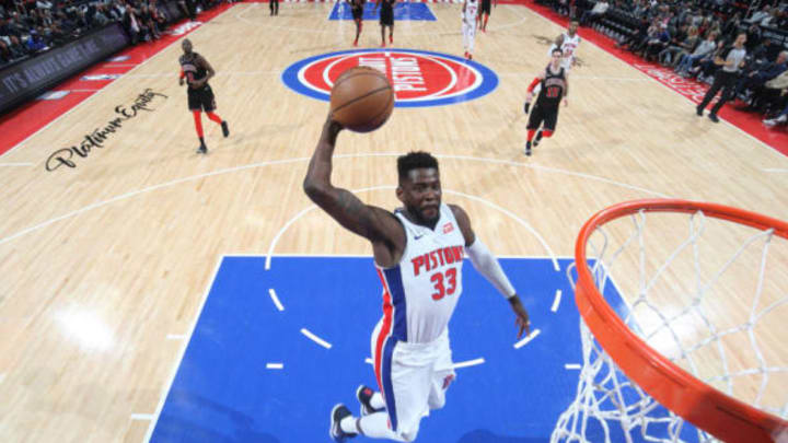 DETROIT, MI – MARCH 24: James Ennis III #33 of the Detroit Pistons goes up for a dunk against the Chicago Bulls on March 24, 2018 at Little Caesars Arena in Detroit, Michigan. (Photo by Brian Sevald/NBAE via Getty Images)