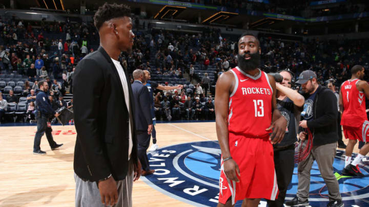 MINNEAPOLIS, MN - MARCH 18: Jimmy Butler #23 of the Minnesota Timberwolves and James Harden #13 of the Houston Rockets talk after the game on March 18, 2018 at Target Center in Minneapolis, Minnesota. NOTE TO USER: User expressly acknowledges and agrees that, by downloading and/or using this photograph, user is consenting to the terms and conditions of the Getty Images License Agreement. Mandatory Copyright Notice: Copyright 2018 NBAE (Photo by David Sherman/NBAE via Getty Images)