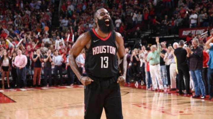 James Harden #13 of the Houston Rockets celebrates a win against the Phoenix Suns