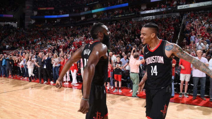 HOUSTON, TX - MARCH 30: James Harden #13 and Gerald Green #14 of the Houston Rockets celebrate a win against the Phoenix Suns on March 30, 2018 at the Toyota Center in Houston, Texas. Gerald Green (15 points) made a three-point field goal at the buzzer to propel the Rockets to their 11th consecutive win. NOTE TO USER: User expressly acknowledges and agrees that, by downloading and or using this photograph, User is consenting to the terms and conditions of the Getty Images License Agreement. Mandatory Copyright Notice: Copyright 2018 NBAE (Photo by Bill Baptist/NBAE via Getty Images)