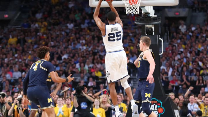 SAN ANTONIO, TX - APRIL 02: Mikal Bridges #25 of the Villanova Wildcats attempts a jump shot against the Michigan Wolverines in the first half during the 2018 NCAA Men's Final Four National Championship game at the Alamodome on April 2, 2018 in San Antonio, Texas. (Photo by Tom Pennington/Getty Images)