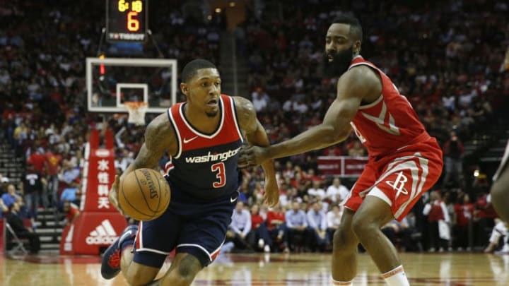 Bradley Beal of the Washington Wizards, James Harden of the Houston Rockets (Photo by Tim Warner/Getty Images)