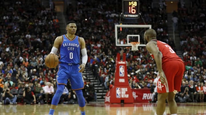 Russell Westbrook #0 of the Oklahoma City Thunder Chris Paul #3 of the Houston Rockets (Photo by Tim Warner/Getty Images)