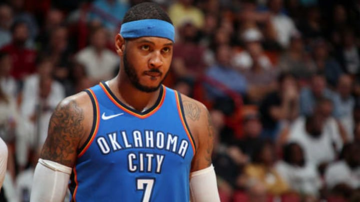 MIAMI, FL – APRIL 9: Carmelo Anthony #7 of the Oklahoma City Thunder looks on during the game against the Miami Heat on April 9, 2018 at American Airlines Arena in Miami, Florida. NOTE TO USER: User expressly acknowledges and agrees that, by downloading and or using this Photograph, user is consenting to the terms and conditions of the Getty Images License Agreement. Mandatory Copyright Notice: Copyright 2018 NBAE (Photo by Issac Baldizon/NBAE via Getty Images)