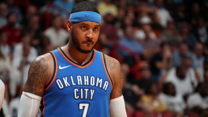 MIAMI, FL - APRIL 9: Carmelo Anthony #7 of the Oklahoma City Thunder looks on during the game against the Miami Heat on April 9, 2018 at American Airlines Arena in Miami, Florida. NOTE TO USER: User expressly acknowledges and agrees that, by downloading and or using this Photograph, user is consenting to the terms and conditions of the Getty Images License Agreement. Mandatory Copyright Notice: Copyright 2018 NBAE (Photo by Issac Baldizon/NBAE via Getty Images)