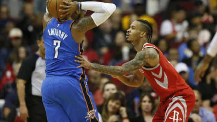 HOUSTON, TX – APRIL 07: Carmelo Anthony #7 of the Oklahoma City Thunder controls the ball defended by Gerald Green #14 of the Houston Rockets in the first half at Toyota Center on April 7, 2018 in Houston, Texas. NOTE TO USER: User expressly acknowledges and agrees that, by downloading and or using this Photograph, user is consenting to the terms and conditions of the Getty Images License Agreement. (Photo by Tim Warner/Getty Images)