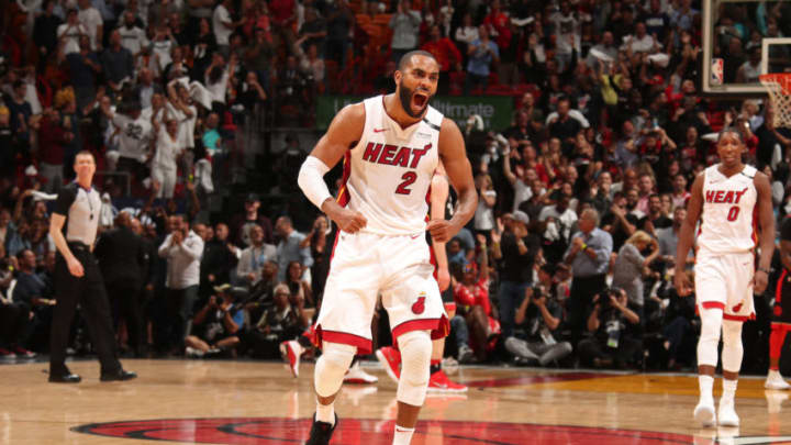 MIAMI, FL - APRIL 11: Wayne Ellington #2 of the Miami Heat yells and celebrates against the Toronto Raptors on April 11, 2018 at American Airlines Arena in Miami, Florida. NOTE TO USER: User expressly acknowledges and agrees that, by downloading and or using this Photograph, user is consenting to the terms and conditions of the Getty Images License Agreement. Mandatory Copyright Notice: Copyright 2018 NBAE (Photo by Issac Baldizon/NBAE via Getty Images)
