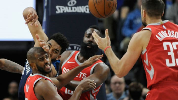 Chris Paul #3, James Harden #13, Ryan Anderson of the Houston Rockets (Photo by Hannah Foslien/Getty Images)