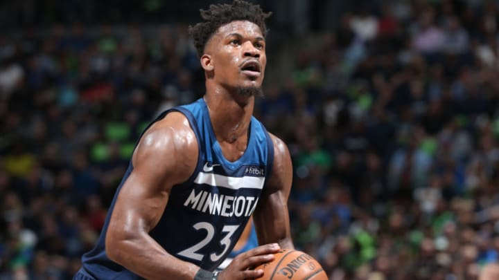 MINNEAPOLIS, MN - APRIL 23: Jimmy Butler #23 of the Minnesota Timberwolves shoots a free throw against the Houston Rockets in Game Four of Round One of the 2018 NBA Playoffs on April 23, 2018 at Target Center in Minneapolis, Minnesota. NOTE TO USER: User expressly acknowledges and agrees that, by downloading and or using this Photograph, user is consenting to the terms and conditions of the Getty Images License Agreement. Mandatory Copyright Notice: Copyright 2018 NBAE (Photo by David Sherman/NBAE via Getty Images)