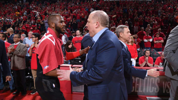 Chris Paul #3 of the Houston Rockets and Head Coach Tom Thibodeau of the Minnesota Timberwolves (Photo by Bill Baptist/NBAE via Getty Images)