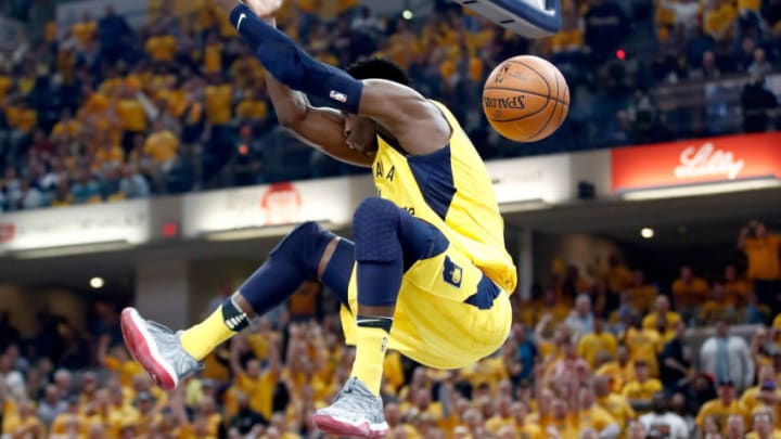 INDIANAPOLIS, IN - APRIL 27: Victor Oladipo #4 of the Indiana Pacers dunks the ball against the Cleveland Cavaliers in Game Six of the Eastern Conference Quarterfinals during the 2018 NBA Playoffs at Bankers Life Fieldhouse on April 27, 2018 in Indianapolis, Indiana. The Pacers 121-87. NOTE TO USER: User expressly acknowledges and agrees that, by downloading and or using this photograph, User is consenting to the terms and conditions of the Getty Images License Agreement. (Photo by Andy Lyons/Getty Images)