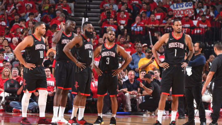 HOUSTON, TX - MAY 2: the Houston Rockets look on prior to Game Two of Round Two of the 2018 NBA Playoffs against the Utah Jazz on May 2, 2018 at Toyota Center in Houston, TX. NOTE TO USER: User expressly acknowledges and agrees that, by downloading and or using this Photograph, user is consenting to the terms and conditions of the Getty Images License Agreement. Mandatory Copyright Notice: Copyright 2018 NBAE (Photo by Andrew D. Bernstein/NBAE via Getty Images)
