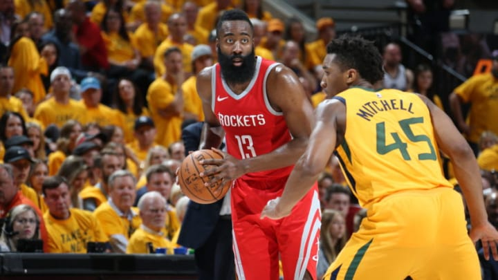 SALT LAKE CITY, UT - MAY 6: James Harden #13 of the Houston Rockets handles the ball against the Utah Jazz during Game Four of the Western Conference Semifinals of the 2018 NBA Playoffs on May 6, 2018 at the Vivint Smart Home Arena in Salt Lake City, Utah. NOTE TO USER: User expressly acknowledges and agrees that, by downloading and or using this photograph, User is consenting to the terms and conditions of the Getty Images License Agreement. Mandatory Copyright Notice: Copyright 2018 NBAE (Photo by Melissa Majchrzak/NBAE via Getty Images)