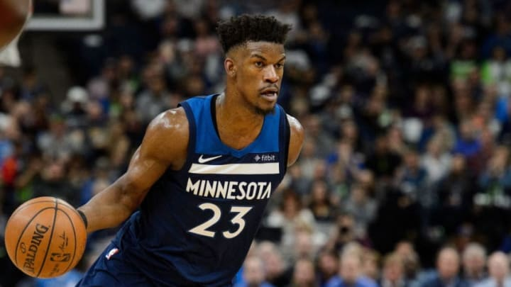 MINNEAPOLIS, MN - APRIL 21: Jimmy Butler #23 of the Minnesota Timberwolves drives to the basket against the Houston Rockets in Game Three of Round One of the 2018 NBA Playoffs on April 21, 2018 at the Target Center in Minneapolis, Minnesota. The Timberwolves defeated 121-105. NOTE TO USER: User expressly acknowledges and agrees that, by downloading and or using this Photograph, user is consenting to the terms and conditions of the Getty Images License Agreement. (Photo by Hannah Foslien/Getty Images)