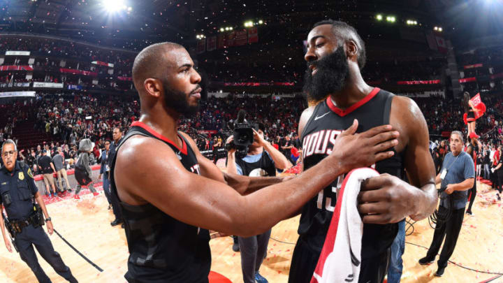 HOUSTON, TX - MAY 8: Chris Paul #3 and James Harden #13 of the Houston Rockets talk after the game against the Utah Jazz during Game Five of the Western Conference Semifinals of the 2018 NBA Playoffs on May 8, 2018 at the Toyota Center in Houston, Texas. NOTE TO USER: User expressly acknowledges and agrees that, by downloading and or using this photograph, User is consenting to the terms and conditions of the Getty Images License Agreement. Mandatory Copyright Notice: Copyright 2018 NBAE (Photo by Andrew D. Bernstein/NBAE via Getty Images)