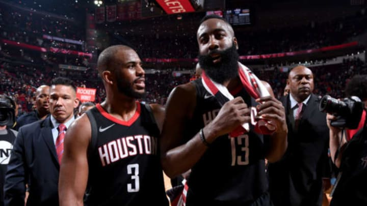 HOUSTON, TX – MAY 8: Chris Paul #3 and James Harden #13 of the Houston Rockets after the game against the Utah Jazz in Game Five of the Western Conference Semifinals of the 2018 NBA Playoffs on May 8, 2018 at the Toyota Center in Houston, Texas. NOTE TO USER: User expressly acknowledges and agrees that, by downloading and or using this photograph, User is consenting to the terms and conditions of the Getty Images License Agreement. Mandatory Copyright Notice: Copyright 2018 NBAE (Photo by Bill Baptist/NBAE via Getty Images)