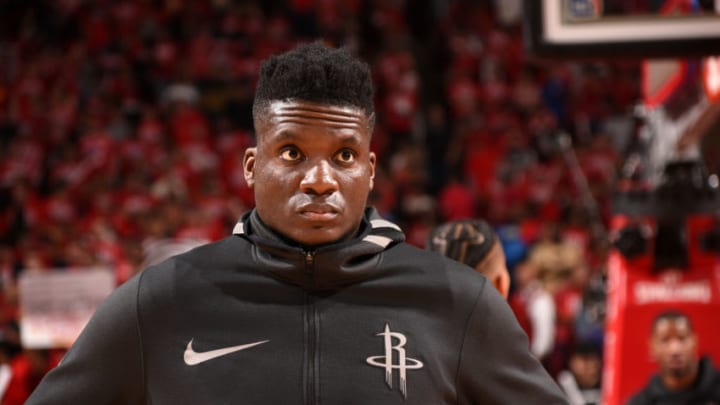 HOUSTON, TX - MAY 14: Clint Capela #15 of the Houston Rockets looks on before the game against the Golden State Warriors in Game One of the Western Conference Finals of the 2018 NBA Playoffs on May 14, 2018 at the Toyota Center in Houston, Texas. NOTE TO USER: User expressly acknowledges and agrees that, by downloading and or using this photograph, User is consenting to the terms and conditions of the Getty Images License Agreement. Mandatory Copyright Notice: Copyright 2018 NBAE (Photo by Bill Baptist/NBAE via Getty Images)