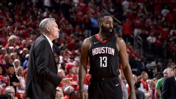 James Harden #13 and Mike D'Antoni of the Houston Rockets (Photo by Bill Baptist/NBAE via Getty Images)