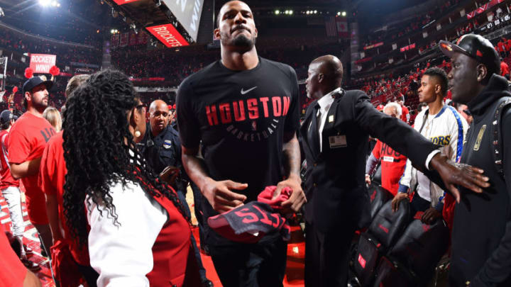 HOUSTON, TX - MAY 16: Trevor Ariza #1 of the Houston Rockets exits the court after winning the game against the Golden State Warriors during Game Two of the Western Conference Finals of the 2018 NBA Playoffs on May 16, 2018 at the Toyota Center in Houston, Texas. NOTE TO USER: User expressly acknowledges and agrees that, by downloading and or using this photograph, User is consenting to the terms and conditions of the Getty Images License Agreement. Mandatory Copyright Notice: Copyright 2018 NBAE (Photo by Andrew D. Bernstein/NBAE via Getty Images)