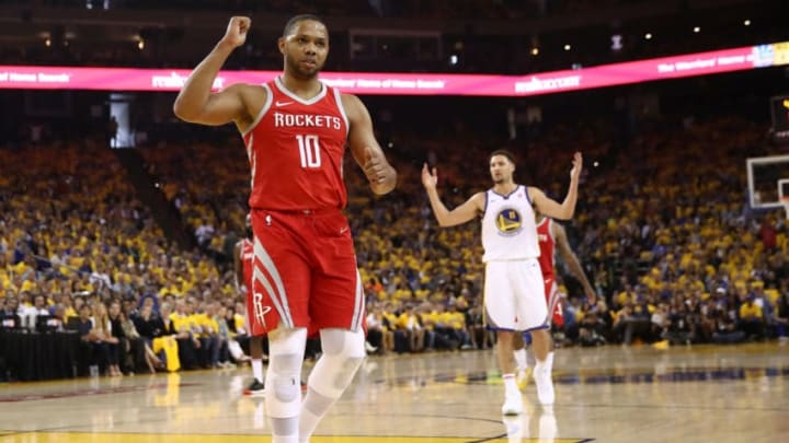OAKLAND, CA - MAY 20: Eric Gordon #10 of the Houston Rockets reacts to a play against the Golden State Warriors during Game Three of the Western Conference Finals of the 2018 NBA Playoffs at ORACLE Arena on May 20, 2018 in Oakland, California. NOTE TO USER: User expressly acknowledges and agrees that, by downloading and or using this photograph, User is consenting to the terms and conditions of the Getty Images License Agreement. (Photo by Ezra Shaw/Getty Images)