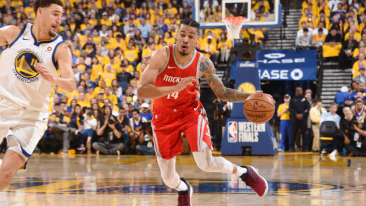 OAKLAND, CA - MAY 20: Gerald Green #14 of the Houston Rockets handles the ball against the Golden State Warriors during Game Three of the Western Conference Finals during the 2018 NBA Playoffs on May 20, 2018 at ORACLE Arena in Oakland, California. NOTE TO USER: User expressly acknowledges and agrees that, by downloading and/or using this Photograph, user is consenting to the terms and conditions of the Getty Images License Agreement. Mandatory Copyright Notice: Copyright 2018 NBAE (Photo by Andrew D. Bernstein/NBAE via Getty Images)
