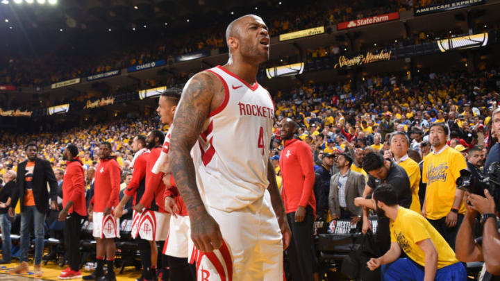 OAKLAND, CA - MAY 22: PJ Tucker #4 of the Houston Rockets reacts against the Golden State Warriors during Game Four of the Western Conference Finals during the 2018 NBA Playoffs on May 20, 2018 at ORACLE Arena in Oakland, California. NOTE TO USER: User expressly acknowledges and agrees that, by downloading and/or using this Photograph, user is consenting to the terms and conditions of the Getty Images License Agreement. Mandatory Copyright Notice: Copyright 2018 NBAE (Photo by Andrew D. Bernstein/NBAE via Getty Images)