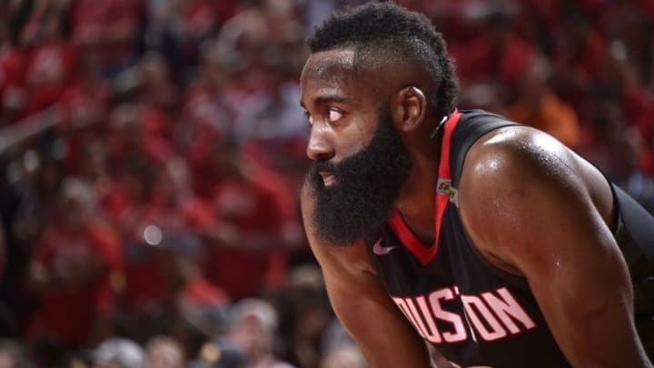 HOUSTON, TX - MAY 24: James Harden #13 of the Houston Rockets looks on in Game Five of the Western Conference Finals against the Golden State Warriors during the 2018 NBA Playoffs on May 24, 2018 at the Toyota Center in Houston, Texas. NOTE TO USER: User expressly acknowledges and agrees that, by downloading and/or using this photograph, user is consenting to the terms and conditions of the Getty Images License Agreement. Mandatory Copyright Notice: Copyright 2018 NBAE (Photo by Bill Baptist/NBAE via Getty Images)