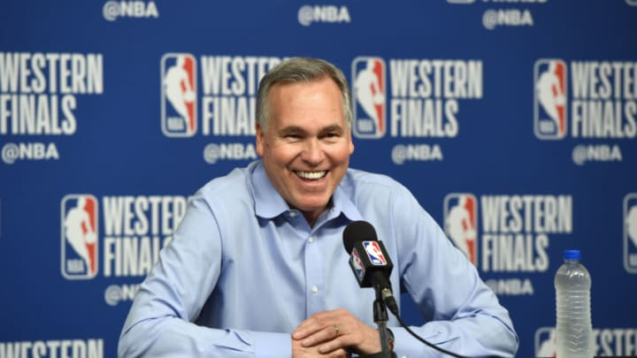 HOUSTON, TX - MAY 24: Head Coach Mike D'Antoni of the Houston Rockets speaks to the media after Game Five of the Western Conference Finals against the Golden State Warriors during the 2018 NBA Playoffs on May 24, 2018 at the Toyota Center in Houston, Texas. NOTE TO USER: User expressly acknowledges and agrees that, by downloading and/or using this photograph, user is consenting to the terms and conditions of the Getty Images License Agreement. Mandatory Copyright Notice: Copyright 2018 NBAE (Photo by Bill Baptist/NBAE via Getty Images)