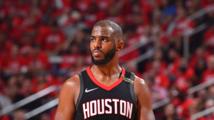 HOUSTON, TX - MAY 24: Chris Paul #3 of the Houston Rockets looks on in Game Five of the Western Conference Finals against the Golden State Warriors during the 2018 NBA Playoffs on May 24, 2018 at the Toyota Center in Houston, Texas. NOTE TO USER: User expressly acknowledges and agrees that, by downloading and or using this photograph, User is consenting to the terms and conditions of the Getty Images License Agreement. Mandatory Copyright Notice: Copyright 2018 NBAE (Photo by Jesse D. Garrabrant/NBAE via Getty Images)