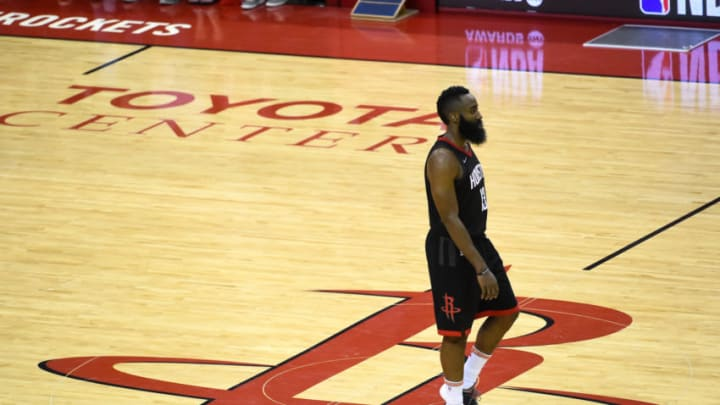 HOUSTON, TX - MAY 28: James Harden #13 of the Houston Rockets looks on in Game Seven of the Western Conference Finals against the Golden State Warriors during the 2018 NBA Playoffs on May 28, 2018 at the Toyota Center in Houston, Texas. NOTE TO USER: User expressly acknowledges and agrees that, by downloading and/or using this photograph, user is consenting to the terms and conditions of the Getty Images License Agreement. Mandatory Copyright Notice: Copyright 2018 NBAE (Photo by Noah Graham/NBAE via Getty Images)