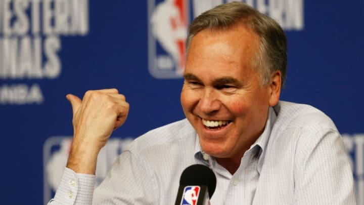 HOUSTON, TX - MAY 28: Head coach Mike D'Antoni of the Houston Rockets speaks to the media after their 92 to 101 loss to Golden State Warriors in Game Seven of the Western Conference Finals of the 2018 NBA Playoffs at Toyota Center on May 28, 2018 in Houston, Texas. NOTE TO USER: User expressly acknowledges and agrees that, by downloading and or using this photograph, User is consenting to the terms and conditions of the Getty Images License Agreement. (Photo by Bob Levey/Getty Images)