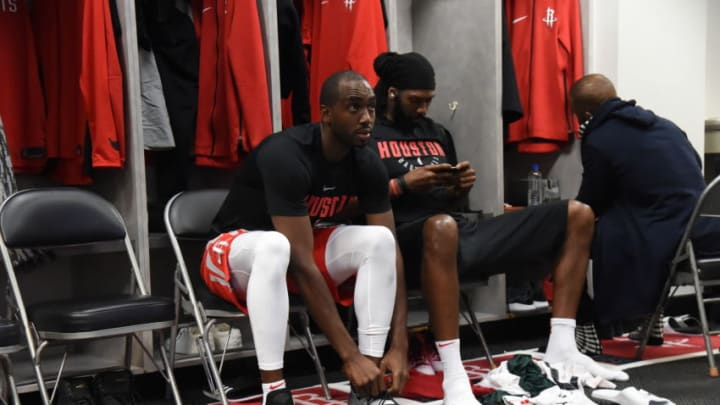 OAKLAND, CA - MAY 26: Luc Mbah a Moute #12 of the Houston Rockets looks on prior to Game Six of the Western Conference Finals during the 2018 NBA Playoffs against the Golden State Warriors on May 26, 2018 at ORACLE Arena in Oakland, California. NOTE TO USER: User expressly acknowledges and agrees that, by downloading and/or using this Photograph, user is consenting to the terms and conditions of the Getty Images License Agreement. Mandatory Copyright Notice: Copyright 2018 NBAE (Photo by Bill Baptist/NBAE via Getty Images)