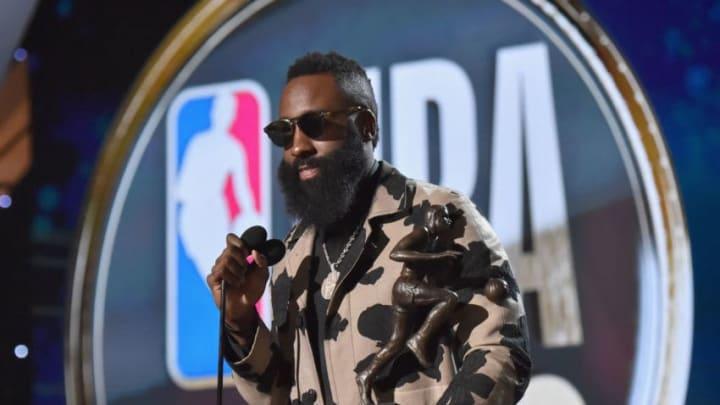 SANTA MONICA, CA - JUNE 25: MVP winner James Harden speaks onstage at the 2018 NBA Awards at Barkar Hangar on June 25, 2018 in Santa Monica, California. (Photo by Kevin Mazur/Getty Images for Turner Sports)