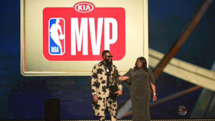 SANTA MONICA, CA – JUNE 25: James Harden #13 of the Houston Rockets accepts the MVP Award during the 2018 NBA Awards Show on June 25, 2018 at The Barkar Hangar in Santa Monica, California. NOTE TO USER: User expressly acknowledges and agrees that, by downloading and/or using this Photograph, user is consenting to the terms and conditions of the Getty Images License Agreement. Mandatory Copyright Notice: Copyright 2018 NBAE (Photo by Adam Pantozzi /NBAE via Getty Images)