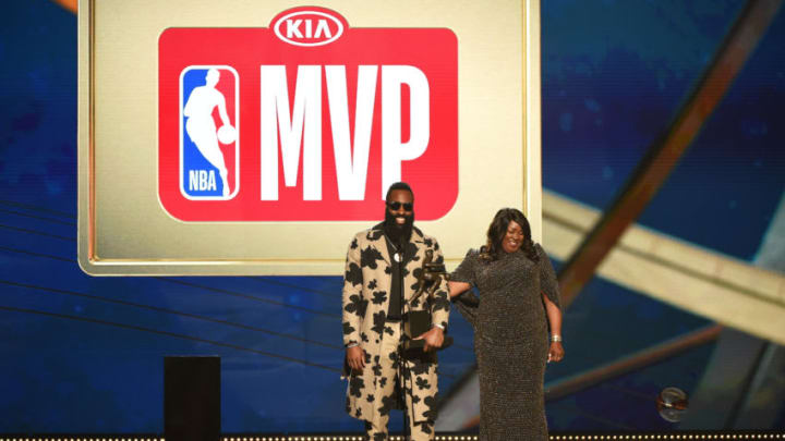 SANTA MONICA, CA - JUNE 25: James Harden #13 of the Houston Rockets accepts the MVP Award during the 2018 NBA Awards Show on June 25, 2018 at The Barkar Hangar in Santa Monica, California. NOTE TO USER: User expressly acknowledges and agrees that, by downloading and/or using this Photograph, user is consenting to the terms and conditions of the Getty Images License Agreement. Mandatory Copyright Notice: Copyright 2018 NBAE (Photo by Adam Pantozzi /NBAE via Getty Images)