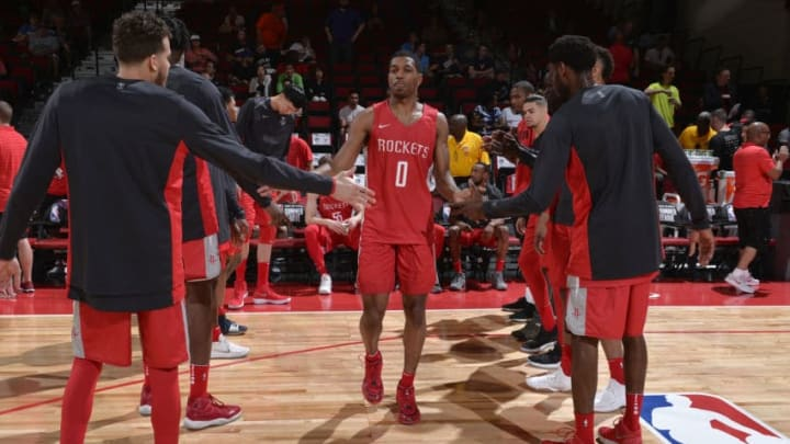 LAS VEGAS, NV - JULY 6: De'Anthony Melton #0 of the Houston Rockets is introduced before the game against the Indiana Pacers during the 2018 Las Vegas Summer League on July 6, 2018 at the Cox Pavilion in Las Vegas, Nevada. NOTE TO USER: User expressly acknowledges and agrees that, by downloading and/or using this photograph, user is consenting to the terms and conditions of the Getty Images License Agreement. Mandatory Copyright Notice: Copyright 2018 NBAE (Photo by David Dow/NBAE via Getty Images)