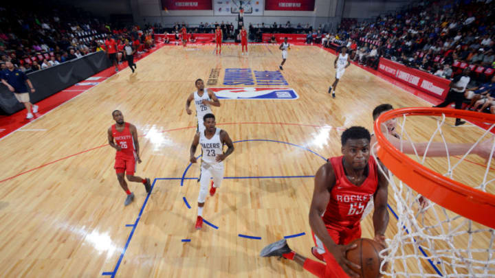 LAS VEGAS, NV - JULY 6: Danuel House #65 of the Houston Rockets shoots the ball against the Indiana Pacers during the 2018 Las Vegas Summer League on July 6, 2018 at the Cox Pavilion in Las Vegas, Nevada. NOTE TO USER: User expressly acknowledges and agrees that, by downloading and/or using this photograph, user is consenting to the terms and conditions of the Getty Images License Agreement. Mandatory Copyright Notice: Copyright 2018 NBAE (Photo by David Dow/NBAE via Getty Images)