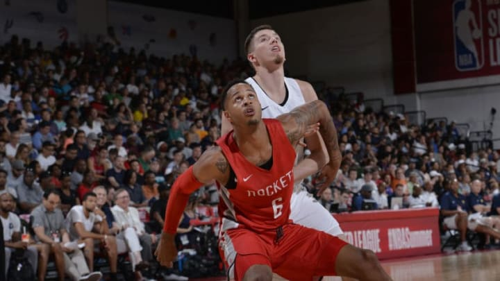 LAS VEGAS, NV - JULY 6: Vincent Edwards #6 of the Houston Rockets boxes out against the Indiana Pacers during the 2018 Las Vegas Summer League on July 6, 2018 at the Cox Pavilion in Las Vegas, Nevada. NOTE TO USER: User expressly acknowledges and agrees that, by downloading and/or using this photograph, user is consenting to the terms and conditions of the Getty Images License Agreement. Mandatory Copyright Notice: Copyright 2018 NBAE (Photo by David Dow/NBAE via Getty Images)