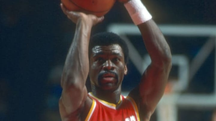 LANDOVER, MD – CIRCA 1977: Calvin Murphy #23 of the Houston Rockets shoots a free-throw against the Washington Bullets during an NBA basketball game circa 1977 at the Capital Centre in Landover, Maryland. Murphy played for the Rockets from 1970-83. (Photo by Focus on Sport/Getty Images)