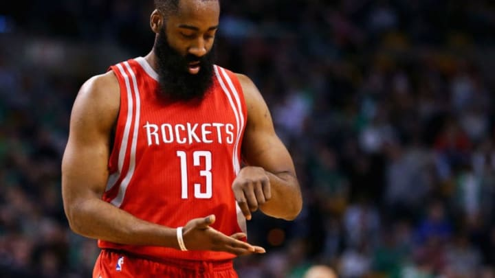 BOSTON, MA - MARCH 11: James Harden #13 of the Houston Rockets reacts after scoring against the Boston Celtics during the fourth quarter at TD Garden on March 11, 2016 in Boston, Massachusetts. The Rockets defeat the Celtics 102-98. (Photo by Maddie Meyer/Getty Images)