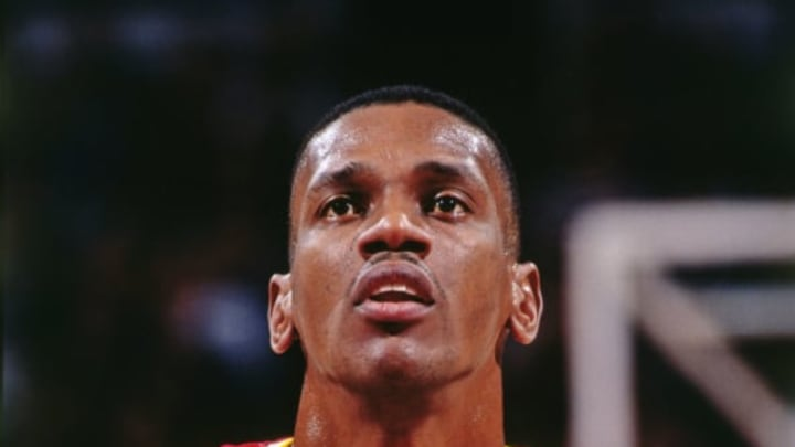 SACRAMENTO, CA: A close up shot of Otis Thorpe #33 of the Houston Rockets shooting a foul shot during a game against the Sacramento Kings circa 1994 at the ARCO Arena in Sacramento, California. NOTE TO USER: User expressly acknowledges and agrees that, by downloading and/or using this Photograph, user is consenting to the terms and conditions of the Getty Images License Agreement. Mandatory Copyright Notice: Copyright 1994 NBAE (Photo by Rocky Widner/NBAE via Getty Images)