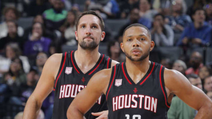SACRAMENTO, CA – NOVEMBER 25: Ryan Anderson #3 and Eric Gordon #10 of the Houston Rockets look on during the game against the Sacramento Kings on November 25, 2016 at Golden 1 Center in Sacramento, California. (Photo by Rocky Widner/NBAE via Getty Images)